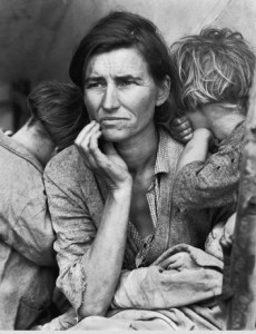 "Lange's classic Depression-era photo of Florence Thompson, whom Americans came to know, simply, as the ""Migrant Mother.""  (Library of Congress)"