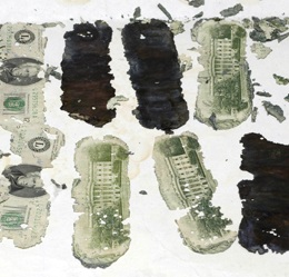 Some of the money that left the airplane with D.B. Cooper, found nine years after the skyjacking.  (FBI)