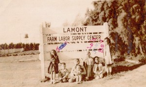 I don't think this sign is still around for original camp residents to pose under at their reunion.  (weedpatch.com)