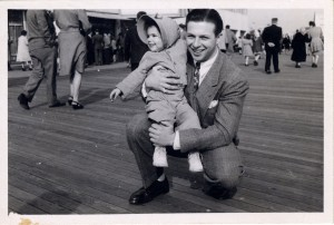 Jane was about 2 when someone snapped this photo of her and her dad on the boardwalk at Atlantic City, New Jersey.  A little later in her life, he interested her in history and politics, and they watched shows such as 'You Are There,' which included historical re-enactments.  (courtesy, Jane Friedman)