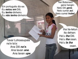 I don't read ANY of these languages spoken in East Timor.  Are there some empty sentence phrases in here?  (João-Paulo-Esperança, Flickr Creative Commons)