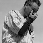 Lou Gehrig choked up often during his brief remarks to the crowd that bid him farewell.  So did the fans.  (AP Photo/Murray Becker)