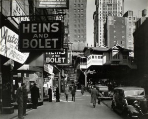 "This is ""Radio Row,"" photographed in 1936.  That entire neighborhood, and more, would be subsumed by the World Trade Center towers when they rose in the 1970s.  (Works Progress Administration photograph)"