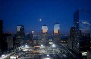 The moon over Ground Zero.  (Carol M. Highsmith)
