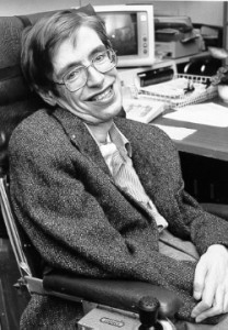 Stephen Hawking on a visit to NASA in the 1980s.  (NASA)