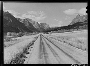 "One of the early ""named"" highways, begun in 1932, was the ""Going-to-the-Sun Road"" (later part of U.S. 2), which cut through spectacular Glacier National Park in Montana. (Library of Congress)"