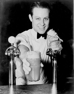 "The term ""soda jerk"" derived from the counterman's tug on the valve that dispensed carbonated water.  (Library of Congress)"