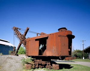 This rusted steam shovel is a remnant of the old ironworks along U.S. 11 in Birmingtham.  Everything else there, inlcuding huge ovens and conveyors, is rust-red, too.  (Carol M. Highsmith)