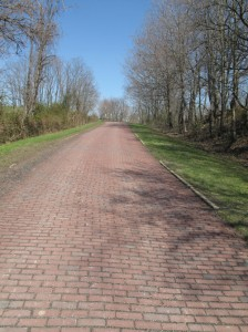 Here's a short stretch of the Old National Road that had been paved in brick.  Note how narrow it was!  (Ted Landphair)