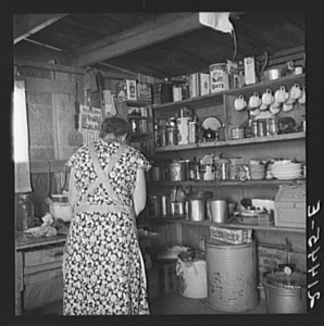 A very ordinary, and typical, American kitchen in 1939.  No mixers or microwave ovens or blenders here.  (Library of Congress)