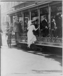Even getting ON this New York City streetcar in 1913 was good exercise.  (Library of Congress)