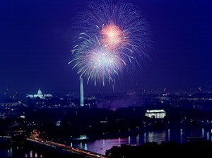 You can see three classics in Carol's fireworks shot: The U.S. Capitol (left), the Washington Monument, and the Lincoln Memorial.  (Carol M. Highsmith/PhotographsAmerica.com)