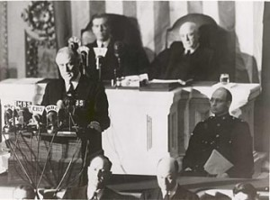 """FDR"" addresses the Congress, and the nation, the following day.  (National Archives)"