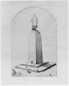 Here's a sketch of George, atop a stump: all that had been built of the Washington Monument about 1877. (Library of Congress)