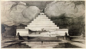 John Russell Pope, architect of the National Archives Building and main building of the National Gallery of Art, struck out with his pyramidal Lincoln Memorial idea.  (National Archives)
