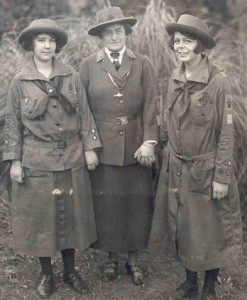 Juliette Low and two scouts, about 1914.  I hope it was winter in Savannah when this was taken!  (Wikipedia Commons)