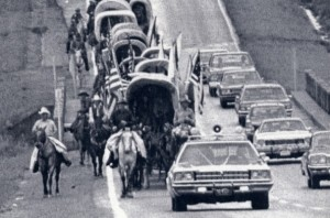 One of the Bicentennial Wagon Trains heading for Valley Forge with scrolls for an ill-fated time capsule.  (AP Photo)