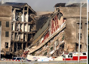A collapsed wall at the Pentagon.  (U.S. Navy)