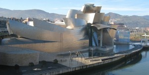 Geary's Guggenheim museum in Bilbao.  The design looks radical, but it sure looks a lot like others of his buildings that I've seen in Los Angeles and Minneapolis.  (MykReeve, Wikipedia Commons)