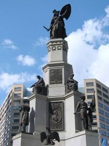 "This is the Soldiers' and Sailors' Monument in its new location, minus its box of ""goo.""  (Dave Hogg, Wikipedia Commons)"