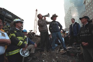 President Bush at Ground Zero, amid the Trade Center rubble, on September 14, 2001.  (White House)