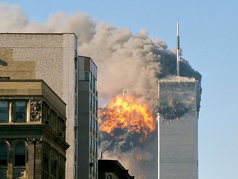United 175 hits the South Tower — a sight that millions of Americans will never forget.  (Wikipedia Commons)