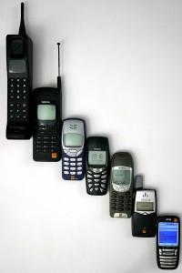 "This is a visual representation of the progression of cellphones.  No doubt it was one of the bigger ones that went into Detroit's ""Treasure Chest"" in 2001.  (anders, Wikipedia Commons)"