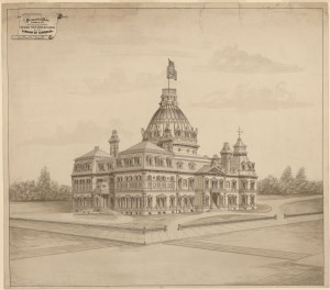 Perhaps the dome was a smidge oversized in this 1873 proposal for the new Library of Congress building by Leon Beaver of Dayton, Ohio.  (Library of Congress)