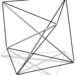 A simple tensegrity design. Eyre's is far more elaborate.  (Wikipedia Commons)