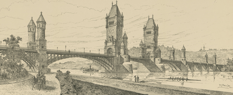 Smithmeyer & Pelz's 1887 idea looks a LOT like the London Bridge.  (Library of Congress)