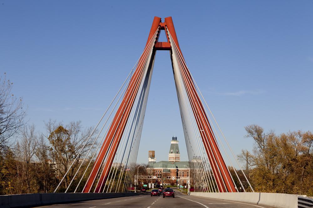 J. Muller International's Second Street Bridge into town. (Carol M. Highsmith)