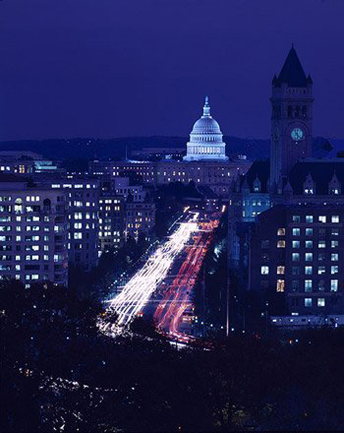 Night falls on Pennsylvania Avenue. (Carol M. Highsmith)