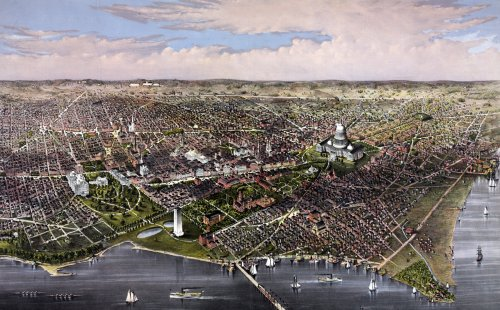 Pennsylvania Avenue stands out clearly in Currier and Ives' 1880 depiction of Washington.  (Library of Congress)