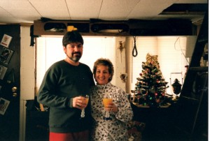 Jim and Linda at Christmastime aboard the Cajun Angel.  (Courtesy, Jim Garrard)