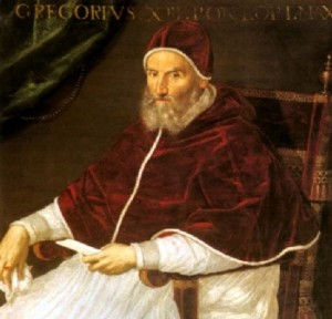 Pope Gregory, as painted by Lavinia Fontana in the 16th Century.  (Wikipedia Commons)