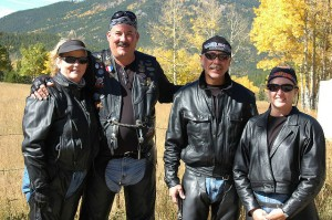 Bikers are big into leather.  It very warm without being bulky.  (Rob Lee, Flickr Creative Commons)