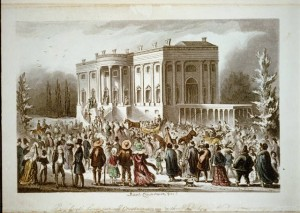 "Robert Cruikshank titled his 1828 illustration of the Jackson inaugural, in part, ""All Creation going to the White House.""  (Library of Congress)"