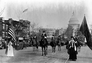 Suffragists march up the Avenue in 1913.  (Library of Congress)