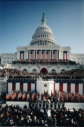 Inauguration Day at the east end of ceremonial Pennsylvania Avenue is quite a spectacle.  (Library of Congress)