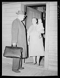 A country doctor makes his rounds in Scott County, Missouri, in 1942.  (Library of Congress)