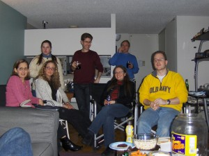 Not Steve's, and not this year, but a typical Super Bowl party gathering.  (Joe Schlabotnik, Flickr Creative Commons)