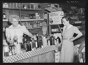 Country potions for sale at a general store in Faulkner County, Arkansas, in 1940.  (Library of Congress)