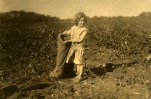A five-year-old cotton picker.  This photo was taken in 1913, but trust me, there were thousands of kids working the fields and factories of America during the Depression.  (Library of Congress)