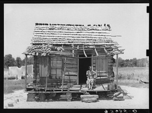 "A ""cottage,"" as it was described, in Sequoyah County, Oklahoma.  (Library of Congress)"