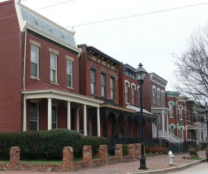 Some of the row houses in Jackson Ward today.  (Wikipedia Commons)
