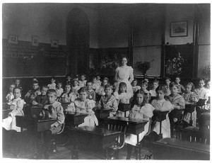 This wasn't MY classroom, for this photo preceded me in school by half a century, but it shows a typical class setting.  (Frances Benjamin Johnston, Library of Conress Photo)