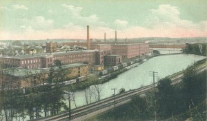This is a 1907 postcard view of another mill town, but up north, in Lawrence, Massachusetts.  (Library of Congress)