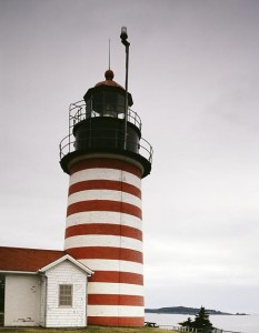 This is the distinctive West Quoddy Light, off Maine, at the easternmost point of Europe that is closest to Europe.  (Carol M. Highsmith)