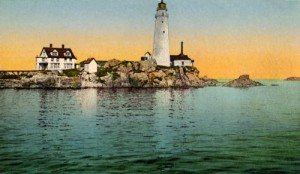 An early 20th-Century postcard view of the Boston Light.  (Library of Congress)