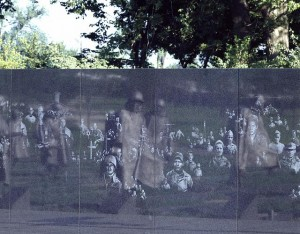 The patrol, reflected among the images on the Remembrance Wall.  (Carol M. Highsmith)